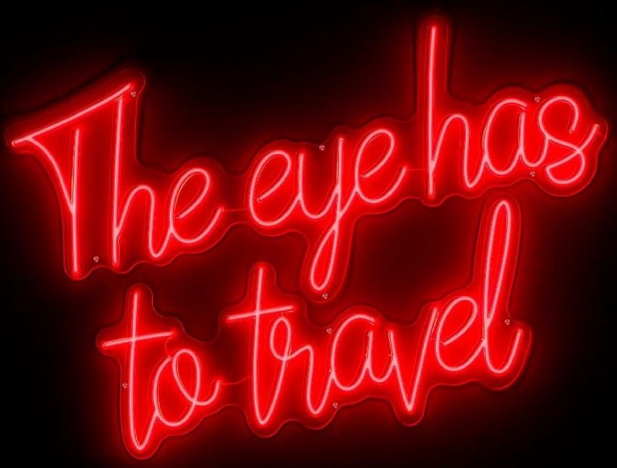 Lampade Al Neon Da Parete casa padrino insegna al neon led di lusso the eye has to travel rosso neon  115 x 2 x a. 90 cm - segno decorativo a led - decorazione murale di lusso