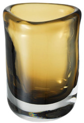 Casa Padrino luxury decorative glass vase brown Ø 12 x H. 17 cm - Hand Blown Flower Vase - Luxury Decoration Accessories