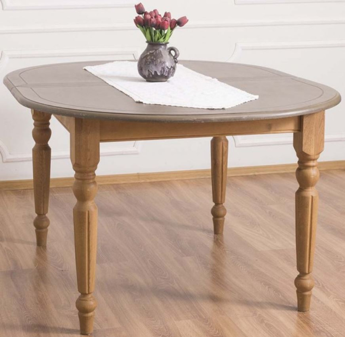 Casa Padrino Country Style Dining Table Gray Light Brown 160 X 120 X H 78 Cm Oval Solid Wood Kitchen Table With Oak Wood Top