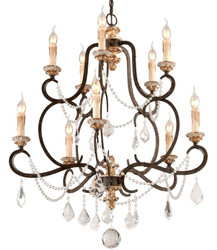 Casa Padrino Baroque Chandelier Bronze Ø 82 x H. 98 cm - Magnificent Wrought Iron Chandelier with Precious Crystal Glass Hangings