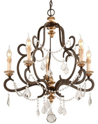 Casa Padrino Baroque Chandelier Bronze Ø 70 x H. 83 cm - Magnificent Wrought Iron Chandelier with Precious Crystal Glass Hangings