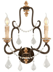 Casa Padrino baroque double wall lamp bronze 36.8 x 21.6 x H. 52.7 cm - Sumptuous Wrought Iron Wall Light with Noble Crystal Glass Hangings