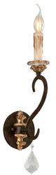 Casa Padrino baroque wall lamp bronze 13.3 x 15.3 x H. 46.4 cm - Sumptuous Wrought Iron Wall Light with Noble Crystal Glass Hanging