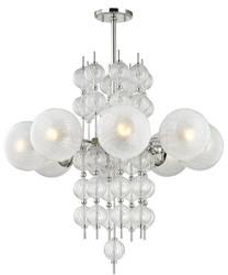 Casa Padrino Luxus Kronleuchter Silber Ø 85 x H. 82,5 cm - Moderner Metall Kronleuchter mit geriffelten spiralförmigen Hohlglaskugeln und kugelförmigen Glas Lampenschirmen
