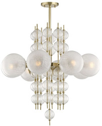Casa Padrino luxury chandelier antique brass Ø 85 x H. 82.5 cm - Modern Metal Chandelier with Corrugated Spiral Hollow Glass Balls and Spherical Glass Lampshades