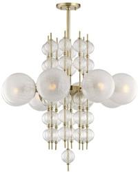 Casa Padrino Luxus Kronleuchter Antik Messing Ø 85 x H. 82,5 cm - Moderner Metall Kronleuchter mit geriffelten spiralförmigen Hohlglaskugeln und kugelförmigen Glas Lampenschirmen