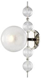 Casa Padrino Luxus Wandleuchte Silber 19 x 29 x H. 56 cm - Moderne Metall Wandlampe mit geriffelten spiralförmigen Hohlglaskugeln und kugelförmigem Glas Lampenschirm