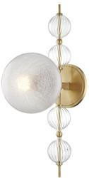 Casa Padrino Luxus Wandleuchte Antik Messing 19 x 29 x H. 56 cm - Moderne Metall Wandlampe mit geriffelten spiralförmigen Hohlglaskugeln und kugelförmigem Glas Lampenschirm