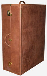Casa Padrino luxury genuine leather shoe case with combination lock and wheels brown / gold 67 x 31 x H. 90 cm - Suitcase Cabinet Made of High Quality Leather - Luxury Quality - Made in Italy