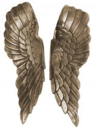 Casa Padrino metal angel wings antique silver / bronze 20 x 5 x H. 65 cm - Wall Decoration - Deco Accessories
