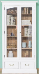 Casa Padrino country style bookcase white / brown 109 x 39 x H. 210 cm - Living room cabinet with 2 glass doors and 2 drawers - Country Style Furniture
