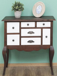 Casa Padrino country style solid wood chest of drawers with 7 drawers dark brown / white 80 x 40 x H. 82 cm - Country Style Furniture
