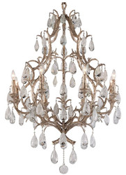 Casa Padrino luxury baroque chandelier bronze Ø 93 x H. 136 cm - Handmade wrought iron chandelier with noble Venetian crystal glass hangings in teardrop shape - Ornate Luxury Hotel Chandelier