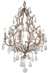 Casa Padrino luxury baroque chandelier bronze Ø 71 x H. 110.5 cm - Handmade wrought iron chandelier with noble Venetian crystal glass hangings in teardrop shape