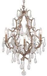 Casa Padrino luxury baroque chandelier bronze Ø 51 x H. 77.5 cm - Handmade wrought iron chandelier with noble Venetian crystal glass hangings in teardrop shape - Ornate Luxury Hotel Chandelier