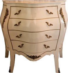 Casa Padrino Baroque chest of drawers cream / gold 100 x 50 x H 89 cm - antique style furniture