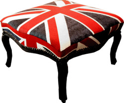 Casa Padrino Barock Hocker Union Jack / Schwarz 68 x 68 x H 39.5 cm - Hocker Englische Flagge - Antik Stil England