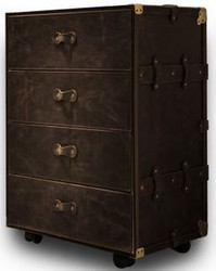 Casa Padrino luxury genuine leather suitcase chest of drawers with 4 drawers and wheels dark brown / gold 54 x 43 x H. 85 cm - Waterproof Vintage Style Chest of Drawers - Luxury Quality