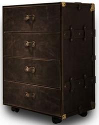 Casa Padrino Luxus Echtleder Koffer Kommode mit 4 Schubladen und Rollen Dunkelbraun / Gold 54 x 43 x H. 85 cm - Wasserdichte Vintage Stil Kommode - Luxus Qualität