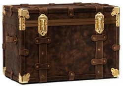 Casa Padrino luxury genuine leather suitcase dark brown / gold 80 x 57 x H. 56 cm - Waterproof Vintage Style Suitcase Chest - Luxury Quality