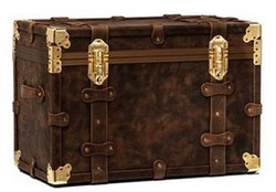 Casa Padrino luxury genuine leather suitcase dark brown / gold 71 x 42 x H. 49 cm - Waterproof Vintage Style Suitcase Chest - Luxury Quality