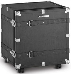 Casa Padrino Luxus Koffer Kommode mit 3 Schubladen und Rollen Schwarz / Silber 60 x 51 x H. 64 cm - Vintage Stil Kunstleder Kommode - Luxus Möbel