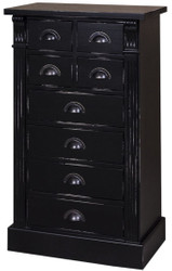 Casa Padrino country style solid wood chest of drawers with 8 drawers antique black 60 x 36 x H. 100 cm - Country Style Furniture