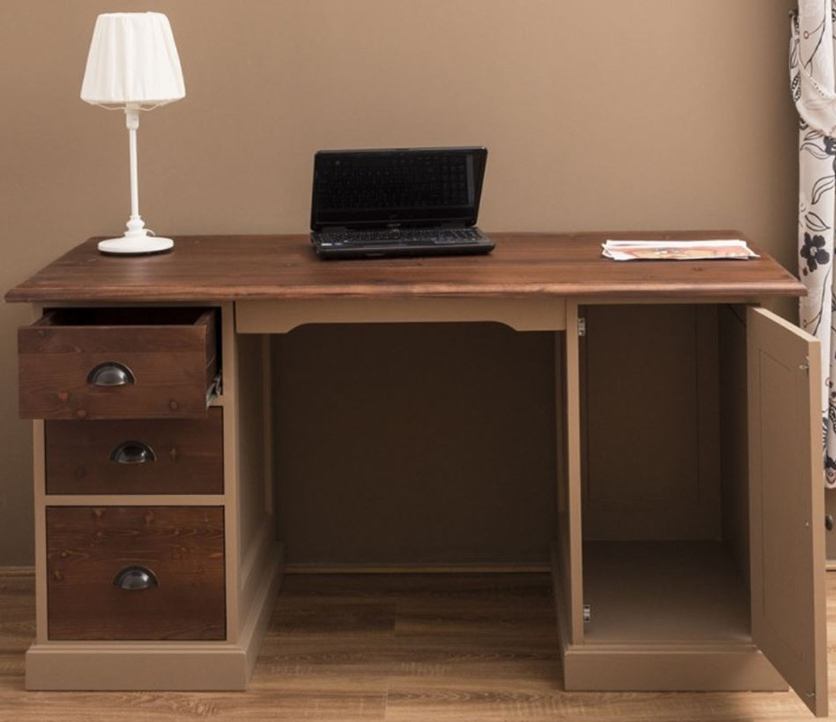 - Casa Padrino Country Style Solid Wood Desk With Door And 3 Drawers