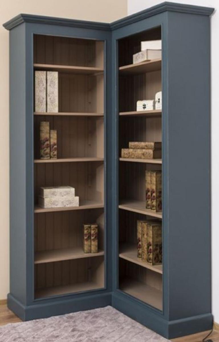 Armadio Piccolo Ad Angolo casa padrino armadio ad angolo in stile country blu / beige 102 x 102 x a.  210 cm - gabinetto dei libri in legno massello - mobili da soggiorno in