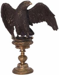 Casa Padrino Art Deco Bronze Skulptur Adler auf Sockel Schwarz / Grau 34 x 22 x H. 37,7 cm - Bronzefigur - Dekofigur - Deko Accessoires