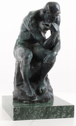 Casa Padrino Art Deco Bronzefigur Der Denker Grau 20,3 x 28 x H. 37,3 cm - Bronze Skulptur - Dekofigur