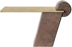 Casa Padrino Designer Konsole Messing / Antik Kupfer 137 x 45,5 x H. 90 cm - Konsolentisch aus Glasfaserverstärktem Beton - Luxus Qualität