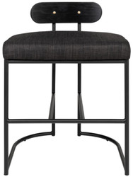 Casa Padrino designer dining chair black 46 x 46 x H. 64.5 cm - Modern kitchen chair with powder-coated steel - Luxury Dining Room Furniture