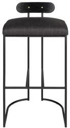 Casa Padrino Designer Barstuhl Schwarz 46 x 46 x H. 92 cm - Moderner Barhocker mit pulverbeschichtetem Stahl - Luxus Barmöbel