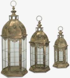 Casa Padrino Jugendstil Tischlaternen Set Antik Messingfarben 35,5 x 30,8 x H. 89,5 cm - Antik Stil Kerzenleuchter - Barock & Jugendstil Deko Accessoires