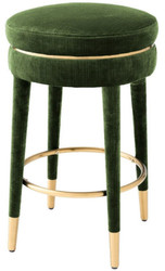 Casa Padrino luxury bar stool dark green / brass Ø 41 x H. 68 cm - Round Velvet Stool - Luxury Furniture