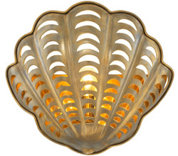 Casa Padrino luxury wall lamp vintage brass 37 x 14 x H. 34 cm - Noble Wall Light in Shell Shape - Luxury Quality