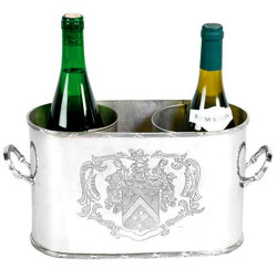 Massive Luxury Table Wine Bottle Holder Wine Cooler Coat of Arms for 2 wine bottles Nickel Finish - Casa Padrino Luxury Collection - Nickel Plated H 18 cm W 28 cm D: 12.5 cm wine rack wine bottle cooler wine bottle holder
