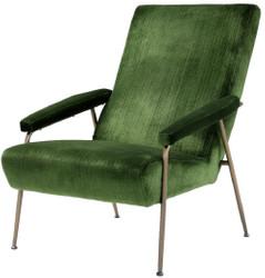 Casa Padrino luxury lounge armchair green / brass 73 x 102 x H. 96.5 cm - Living room velvet armchair - Luxury Living Room Furniture