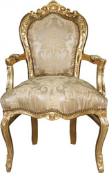 Casa Padrino Baroque Dinner Chair Creme Flower Pattern / Gold with armrest