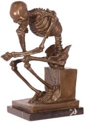Casa Padrino decoration bronze figure the thinking skeleton bronze / black 16.8 x 13.1 x H. 24.6 cm - Bronze Sculpture - Decoration Figure