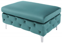 Casa Padrino Chesterfield Velvet Stool Turquoise / Silver 90 x 63 x H. 47 cm - Modern Rectangular Stool - Living Room Furniture