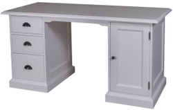 Casa Padrino country style solid wood desk with door and 3 drawers gray 152 x 70 x H. 78 cm - Office Furniture in Country Style