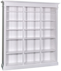 Casa Padrino Country Style Bookcase White 180 x 39 x H. 197 cm - Solid Wood Cabinet - Shelving Cabinet - Living Room Cabinet - Country Style Furniture