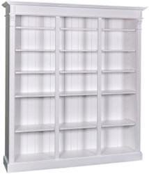 Casa Padrino Landhausstil Bücherschrank Weiß 180 x 39 x H. 197 cm - Massivholz Schrank - Regalschrank - Wohnzimmerschrank - Landhausstil Möbel
