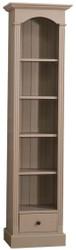 Casa Padrino Landhausstil Regalschrank Beige 50 x 33 x H. 190 cm - Massivholz Schrank mit 4 Regalen und Schublade - Landhausstil Möbel