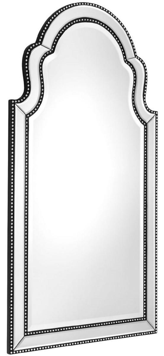 casa padrino luxus mahagoni wandspiegel schwarz  silber