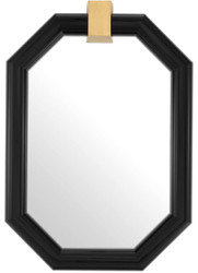 Casa Padrino luxury wall mirror black / brass 105 x 15 x H. 151 cm - Octagonal mahogany mirror - Luxury Quality
