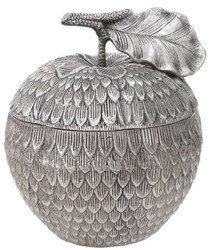 Casa Padrino luxury storage box with lid in apple shape antique silver Ø 18 x H. 20 cm - Decoration Accessories