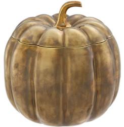 Casa Padrino luxury storage box in pumpkin shape vintage brass Ø 21.5 x H. 22 cm - Decorative Pumpkin with Lid